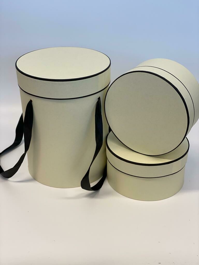 Hat Boxes Tall Cream with Black Trim