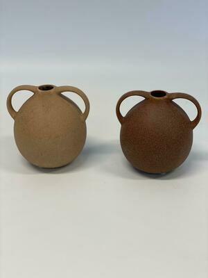 Round Ceramic Bottle with Handles