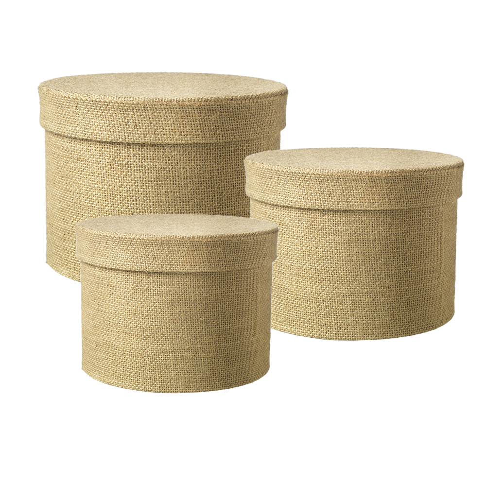 Hat Boxes Hessian