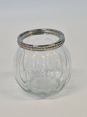 Large Ribbed Tealight Holder with Metal Rim