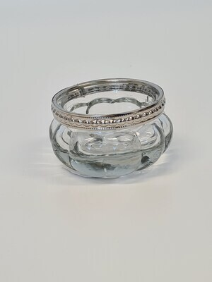 Small Ribbed Tealight Holder with Metal Rim