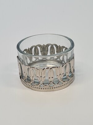 Small Clear Tealight Holder with Metal Base