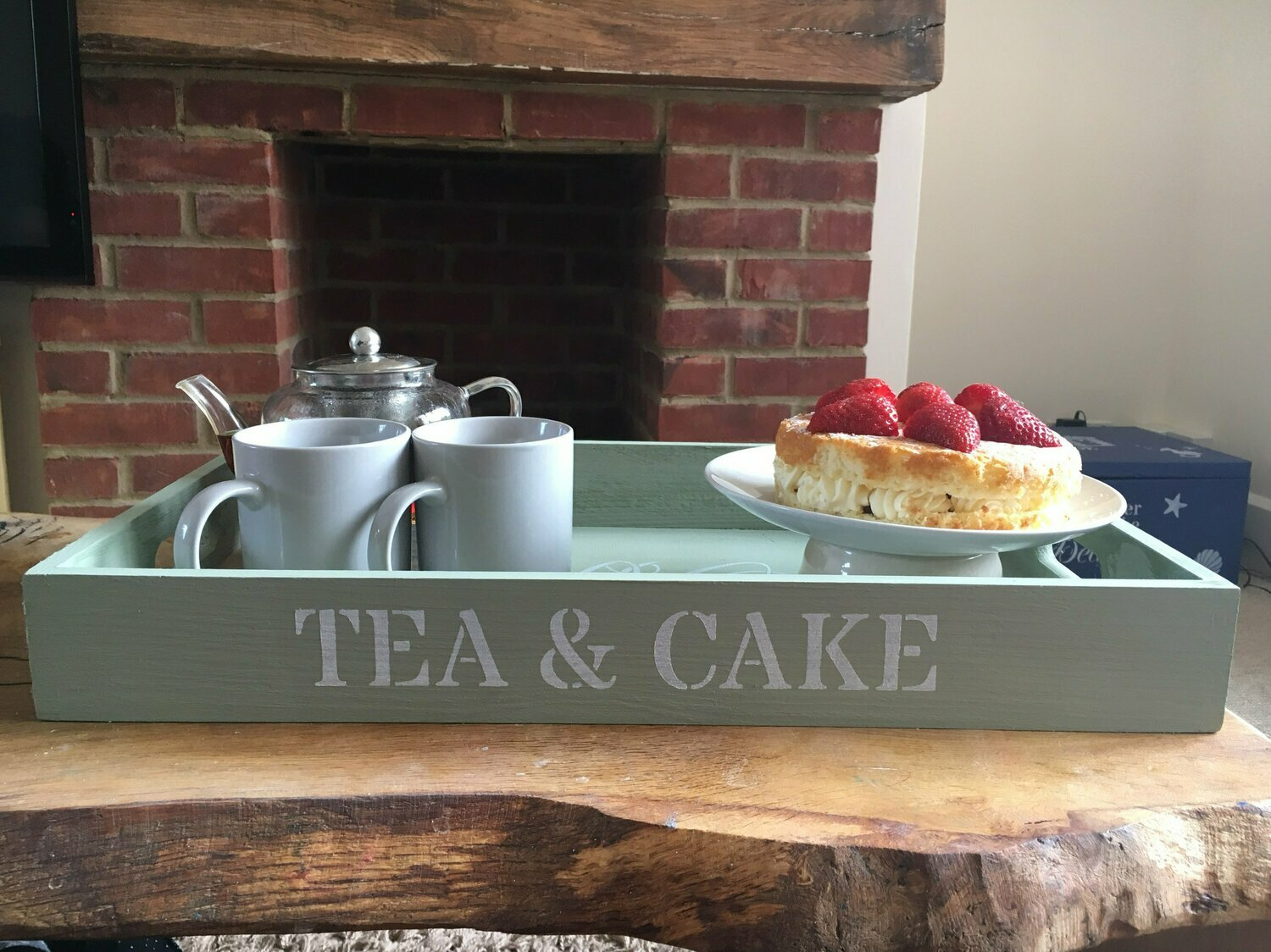 Tea and Cake decorative  shabby chic wooden tray  Free UK P&P
