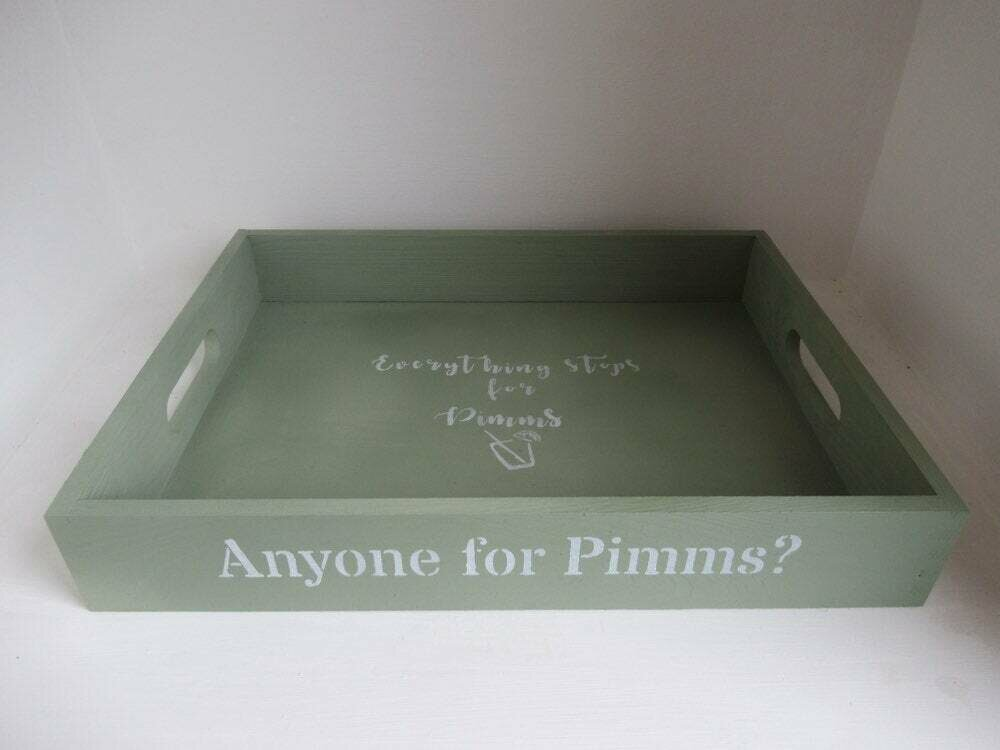 Anyone for Pimms?  decorative shabby chic wooden tray  Free UK P&P