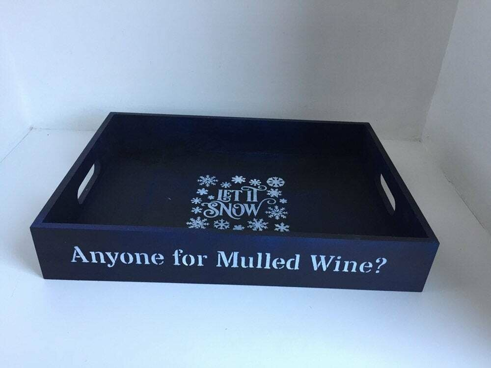 Anyone for Mulled Wine? decorative shabby chic wooden tray  Free UK P&P