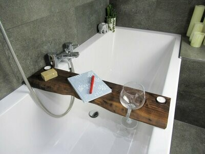 Live Edge Solid French Walnut Wood Bespoke Rustic Bath Caddy Tray Tablet Holder