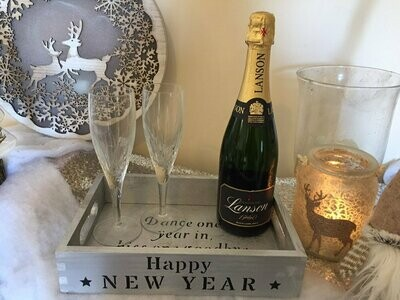 Happy New Year Christmas decorative shabby chic wooden drinks tray