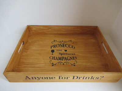 Anyone for Drinks? decorative  shabby chic wooden tray  Free UK P&P