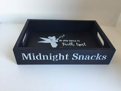 Midnight snacks kids sleepover decorative shabby chic wooden tray  Free UK P&P