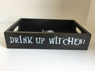 Halloween Drink Up Witches bespoke personalised wooden drinks tray