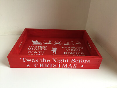 Christmas Eve Tray Platter Treat Plate Wooden Personlised