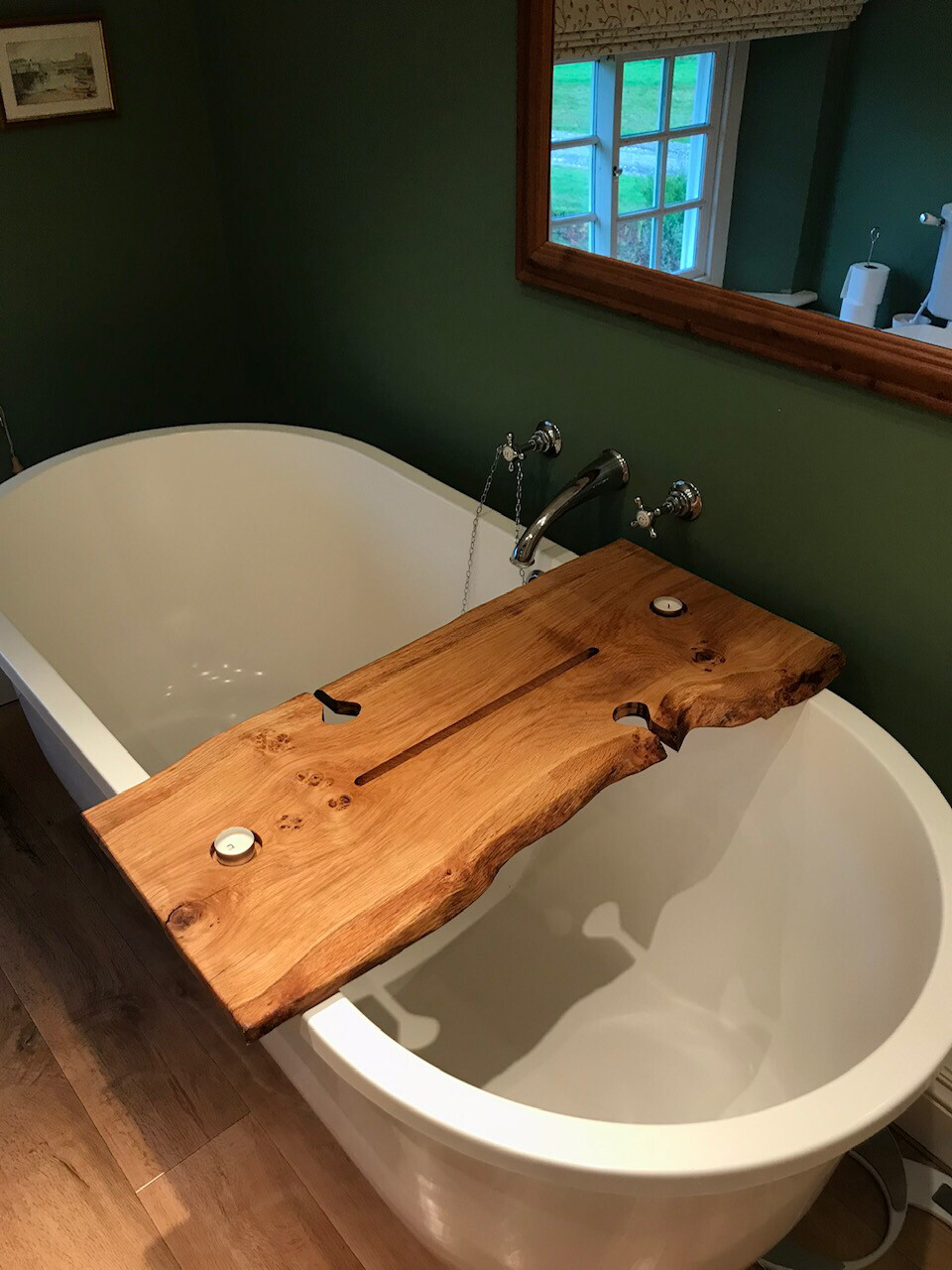 Double Live Edge Solid Pippy Oak wood Bespoke Rustic Bath Caddy Tray Tablet Holder
