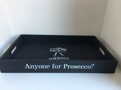 Anyone for Prosecco ? decorative shabby chic wooden tray  Free UK P&P