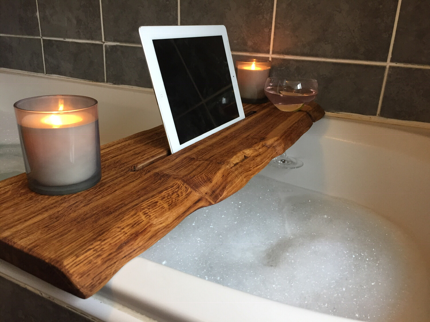 Live Edge Solid Oak wood Bespoke Rustic Bath Caddy Tray Tablet wine glass Holder
