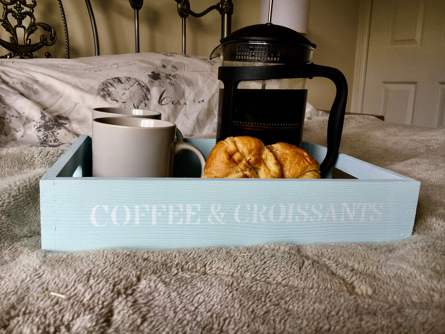 Coffee and Croissant decorative  shabby chic wooden tray  Free UK P&P