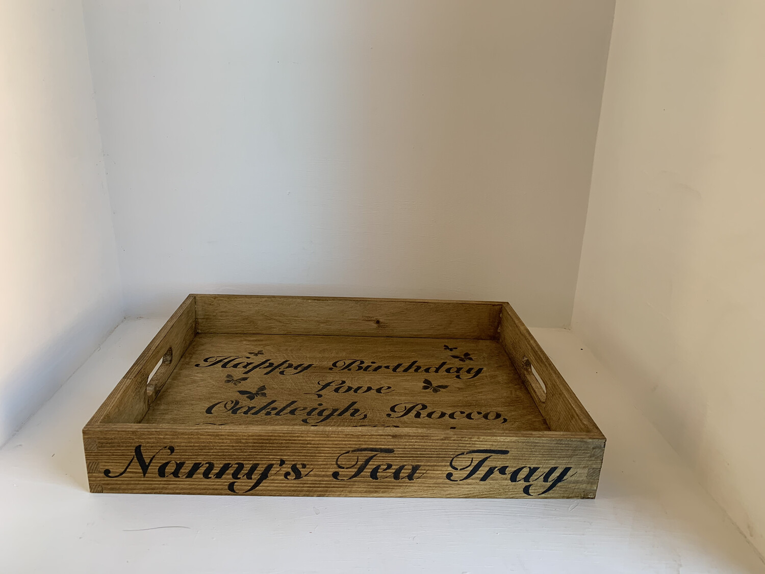 Mum's Dad's Nan's Nanny's Granny's Name Tea Tray decorative shabby chic wooden drinks tea tray  Free UK P&P