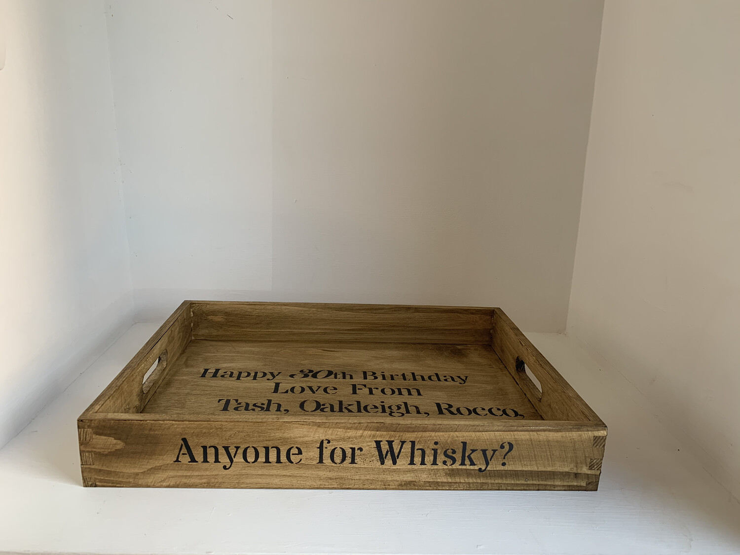Anyone for Whisky? decorative shabby chic wooden tray  Free UK P&P