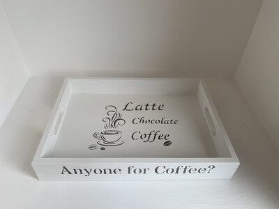 Anyone for Coffee? decorative  shabby chic wooden tray  Free UK P&P