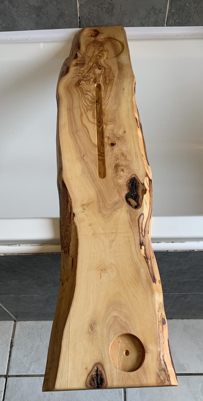 Live Edge Solid Italian Olive wood Bespoke Rustic Bath Caddy Tray Tablet Holder Readymade
