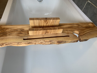 Live Edge Solid Italian Olive wood Bespoke Rustic Bath Caddy Tray Tablet Holder Readymade