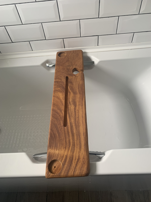 Straight Edge Rosewood Bespoke Rustic Bath Caddy Tray Readymade