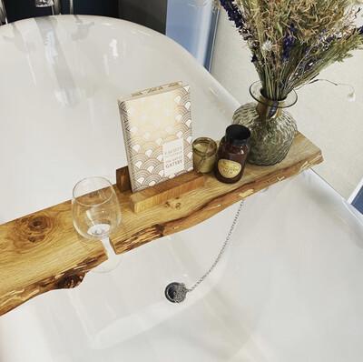 Live Edge Solid Pippy Oak wood Bespoke Rustic Bath Caddy Tray Tablet Holder