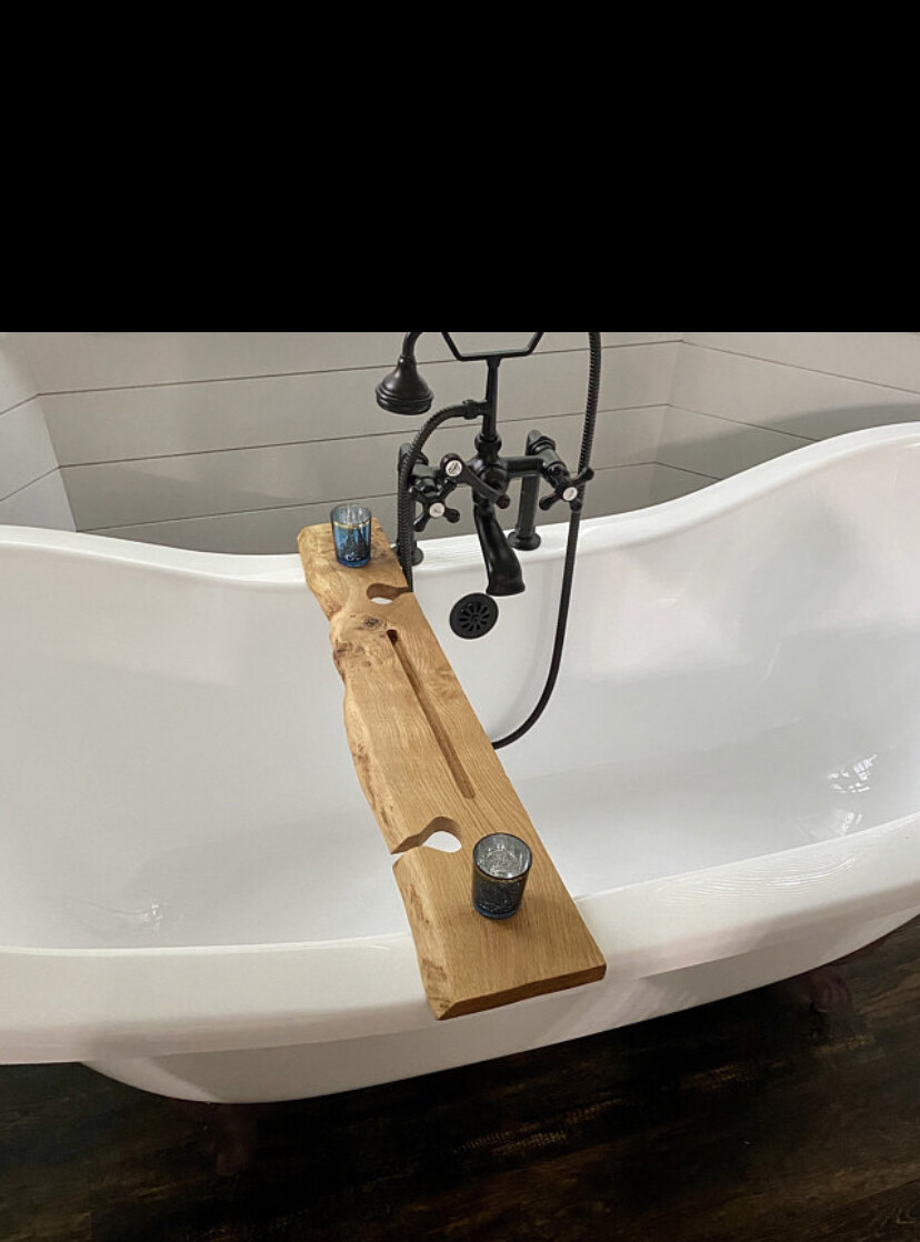 Live Edge Solid Light Oak wood Bespoke Rustic Bath Caddy Tray Tablet wine glass Holder