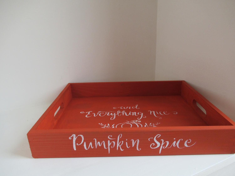 Autumn Pumpkin Spice decorative shabby chic wooden tray Free UK P&P