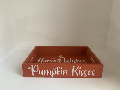Autumn Pumpkin Kisses And Harvest Wishes shabby chic wooden tray Free UK P&P