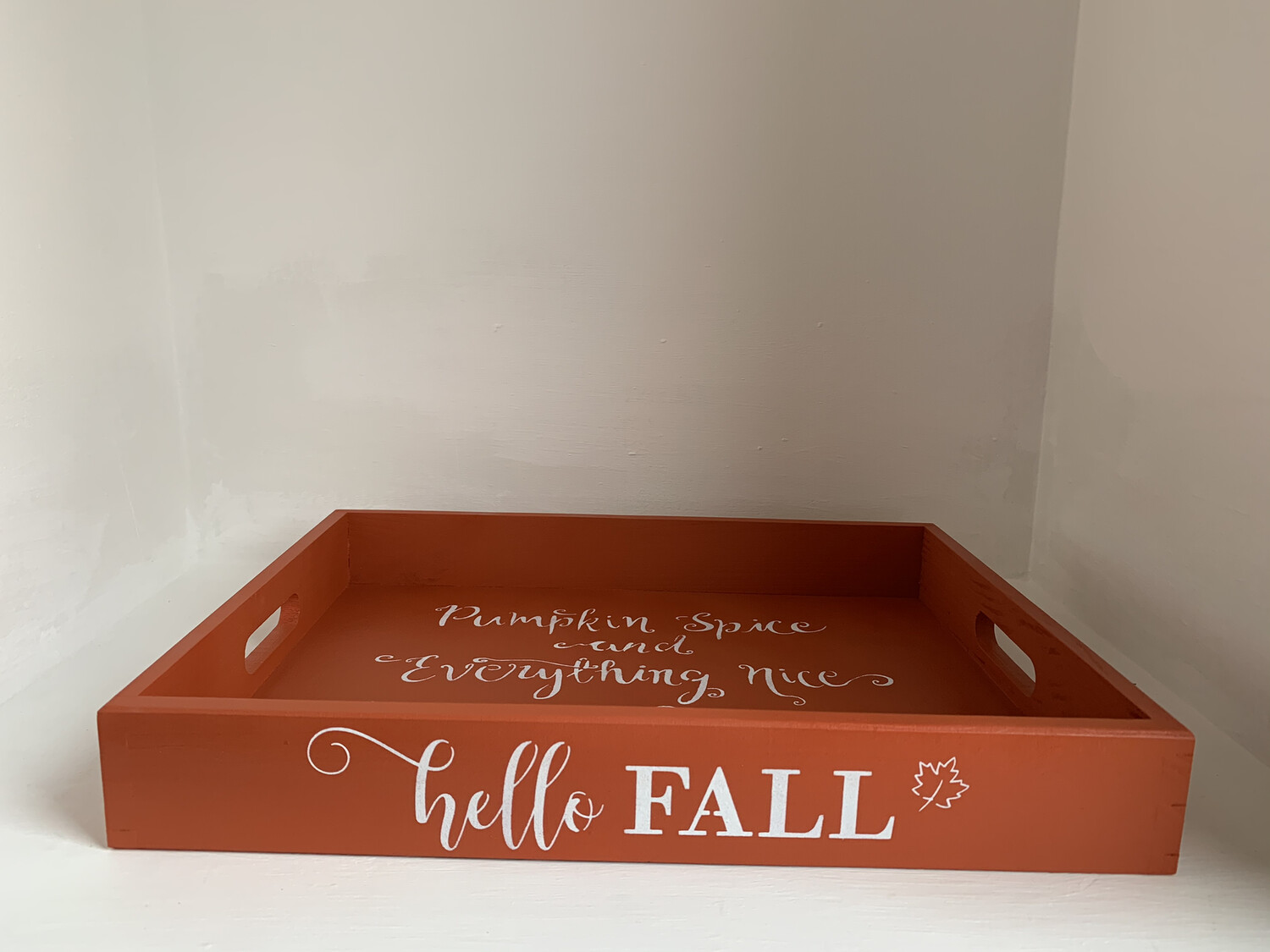 Hello Fall Autumn Pumpkin Spice Thanksgiving decorative shabby chic wooden tray Free UK P&P