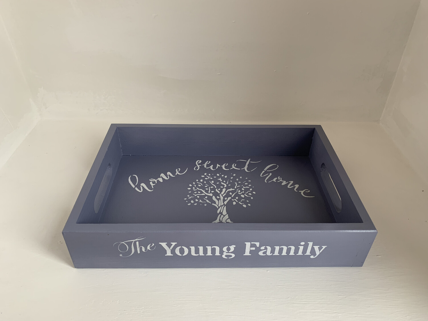 Personalised Family Name Tray decorative  shabby chic wooden tray  Free UK P&P