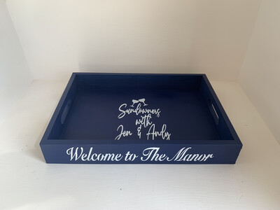Personalised House Name Tray decorative  shabby chic wooden tray  Free UK P&P
