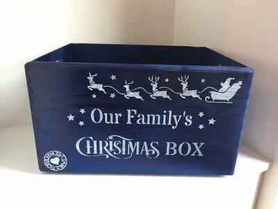 Large Royal Blue Christmas or Christmas Eve box