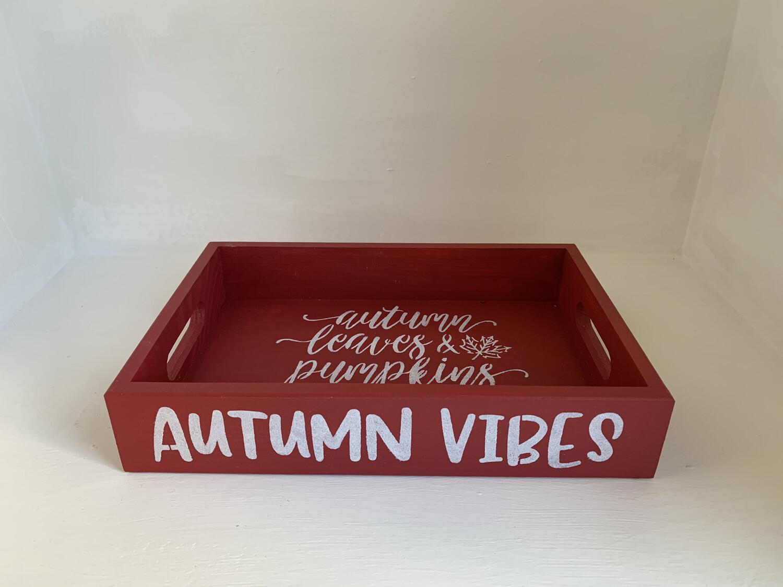 Autumn vibes Shabby chic wooden tray Free UK P&P