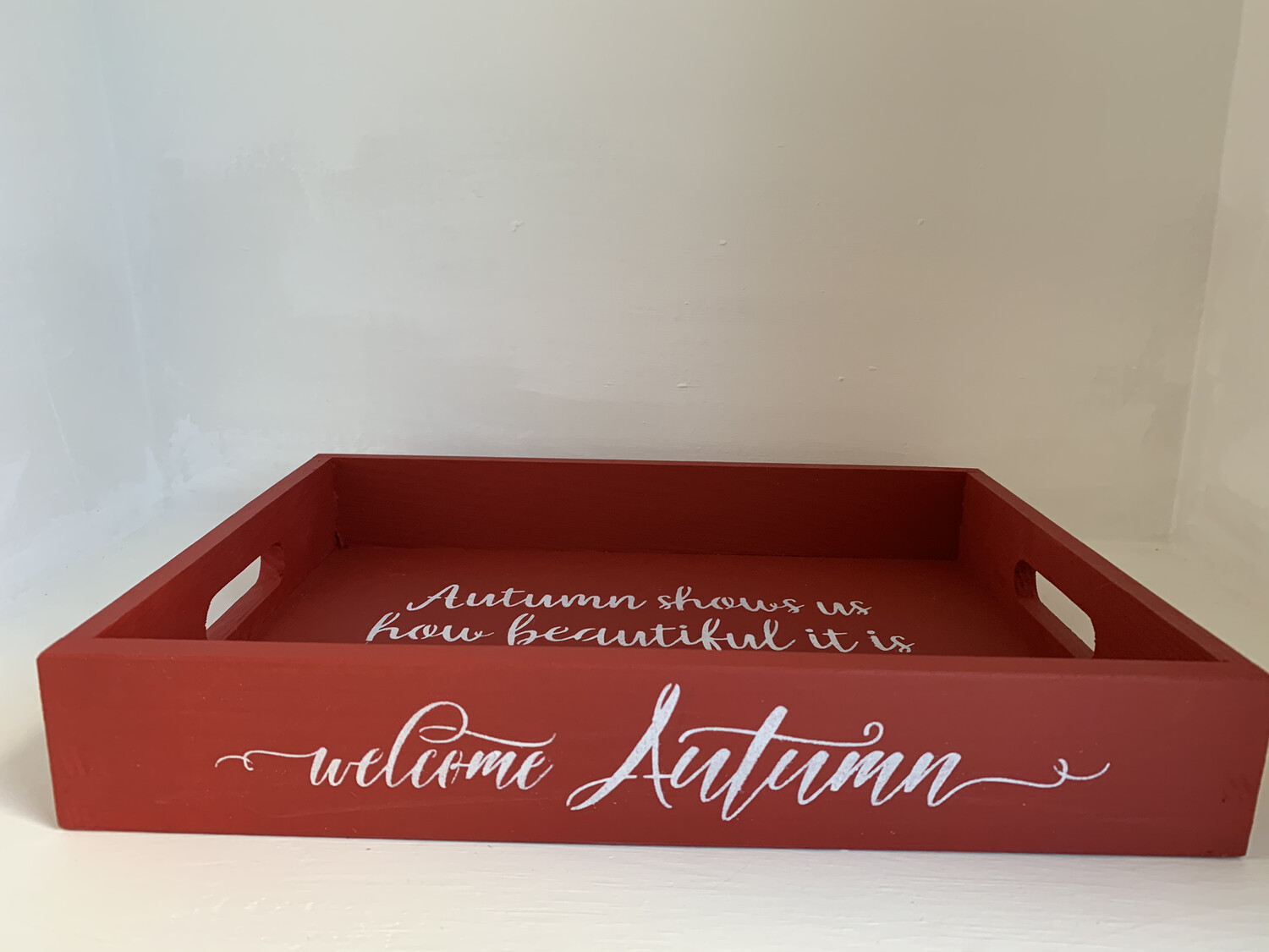 Welcome Autumn Shabby chic wooden tray Free UK P&P