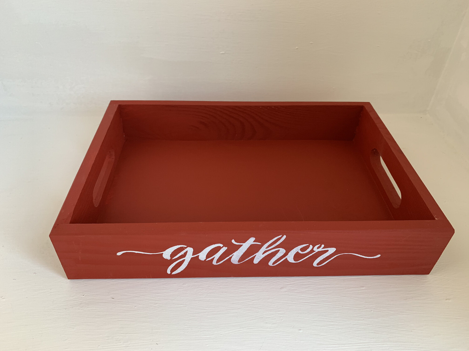Gather Thanksgiving Shabby chic wooden tray Free UK P&P