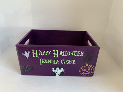 Personalised wooden Halloween trick or treat crate box basket
