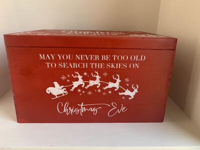 Red Large Lidded Christmas or Christmas Eve box