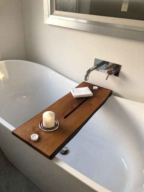 Double Live Edge Solid French Walnut wood Bespoke Rustic Bath Caddy Tray Tablet Holder