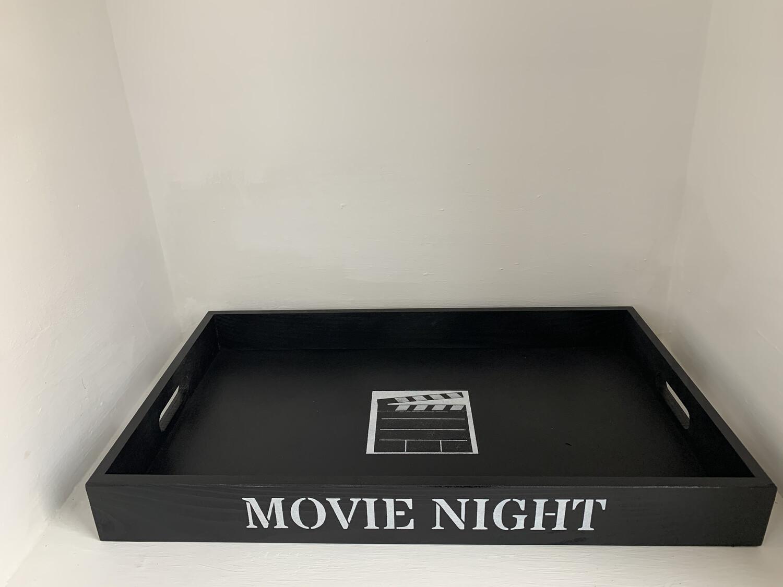 Movie snacks Family Movie Night kids sleepover decorative shabby chic wooden tray  Free UK P&P