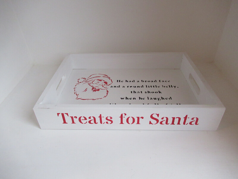 Christmas Eve Treats For Santa Tray Platter Treat Plate Wooden Personalised