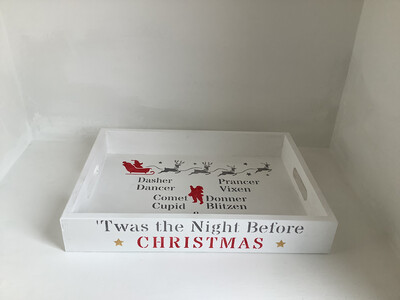 Twas the night before Christmas decorative shabby chic wooden Santas treats drinks tray