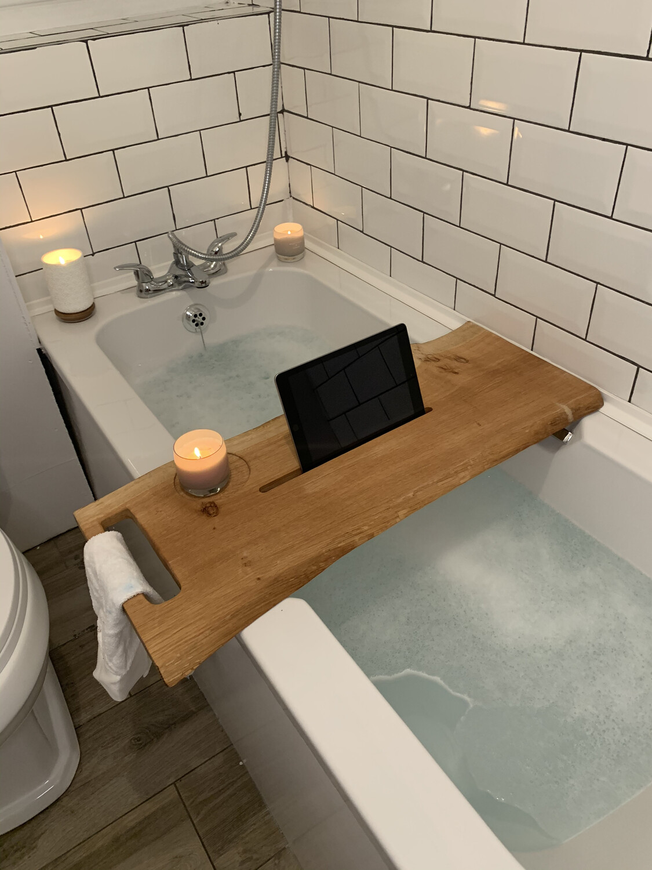 Live Edge Pippy Oak Bespoke Rustic Bath Caddy Tray Readymade