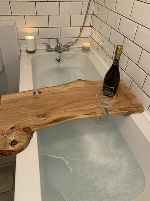Double Live Edge Pippy Oak Bespoke Rustic Bath Caddy Tray Readymade