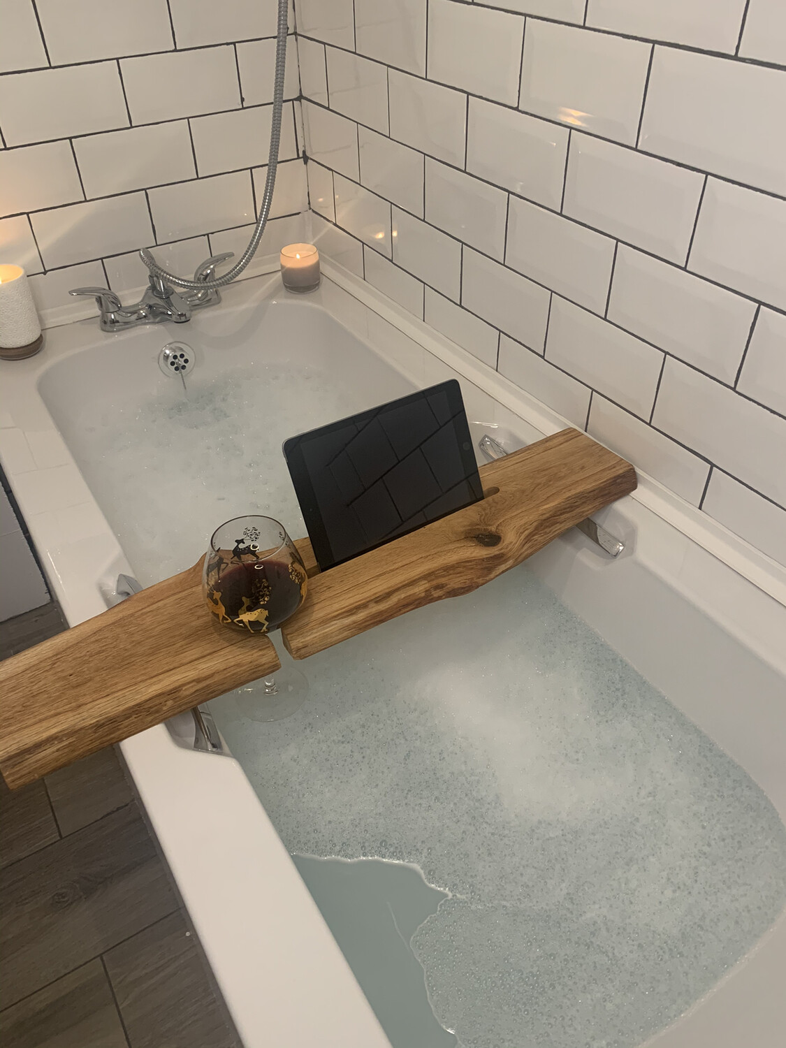 Live Edge Brown Oak Bespoke Rustic Bath Caddy Tray Readymade