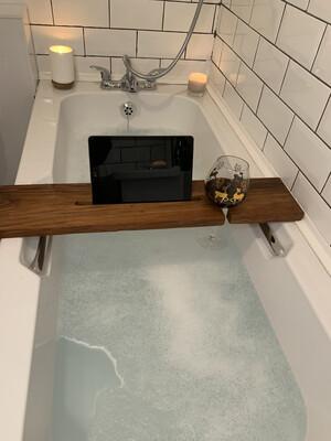 Straight Edge Kiaat Bespoke Rustic Bath Caddy Tray Readymade