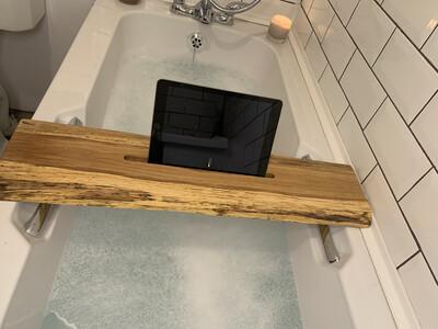 Live Edge Brown Oak Bespoke Rustic Bath Caddy Tray Readymade