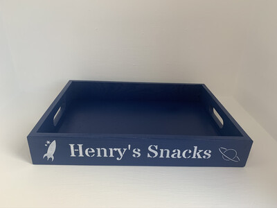 Personalised Name Snack Tray decorative  shabby chic wooden tray  Free UK P&P