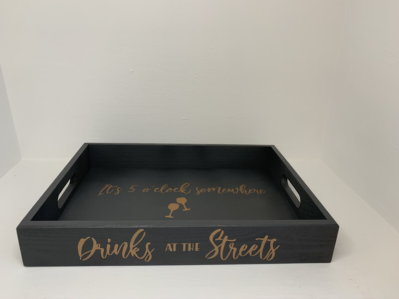 Personalised Drinks at Tray decorative  shabby chic wooden tray  Free UK P&P
