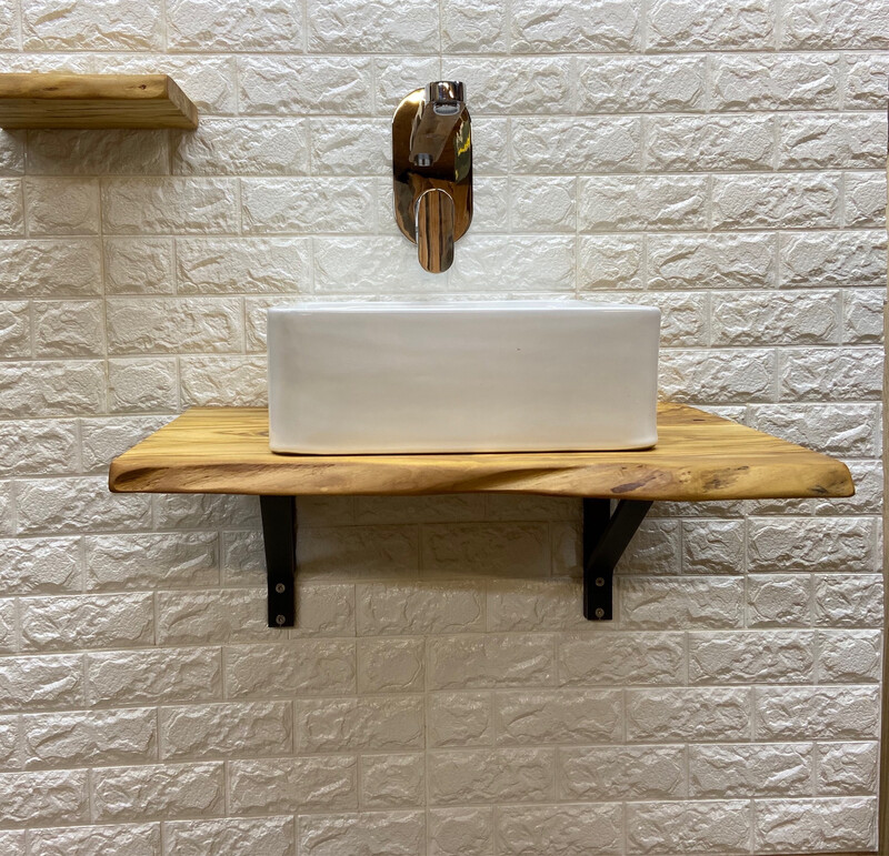 Live Edge Solid Character Rustic wood Bespoke Rustic wash stand sink unit bathroom vanity unit Wooden vanity countertop shelf
